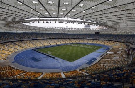 A general view of the Olympiyskiy national stadium, which will host the Champions league final soccer match in Kiev, Ukraine, Tuesday, Nov. 14, 2017.The match will be played at the NSC Olimpiyskiy Stadium on May 26, 2018. (AP Photo/Efrem Lukatsky)