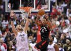Toronto Raptors guard DeMar DeRozan (10) passes the ball against Washington Wizards center Marcin Gortat (13) during the second half of Game 4 of an NBA basketball first-round playoff series, Sunday, April 22, 2018, in Washington. The Wizards won 106-98. (AP Photo/Nick Wass)