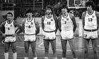 Η πεντάδα της Εθνικής Ελλάδας στο παιχνίδι με την Γαλλία το 1984: Γκάλης, Γιαννάκης, Ανδρίτσος, Κατσούλης και Φασούλας