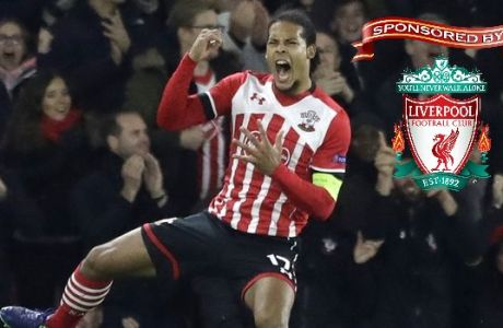 Southampton's Virgil van Dijk celebrates scoring during the Europa League group K stage soccer match between Southampton and Internazionale at St. Mary's Stadium in Southampton, England, Thursday, Nov. 3, 2016. (AP Photo/Matt Dunham)