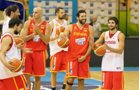 Team of Spain during practice session for Eurobasket 2013 in Zlatorog Arena in Celje, Slovenia on September 3, 2013