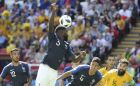 France's Samuel Umtiti plays the ball with his arm during the group C match between France and Australia at the 2018 soccer World Cup in the Kazan Arena in Kazan, Russia, Saturday, June 16, 2018. (AP Photo/David Vincent)