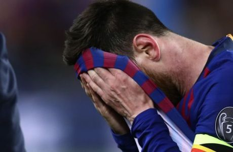 Barcelona's Lionel Messi reacts after the Champions League semifinal first leg soccer match between FC Barcelona and Liverpool at the Camp Nou stadium in Barcelona, Spain, Wednesday, May 1, 2019. (AP Photo/Manu Fernandez)