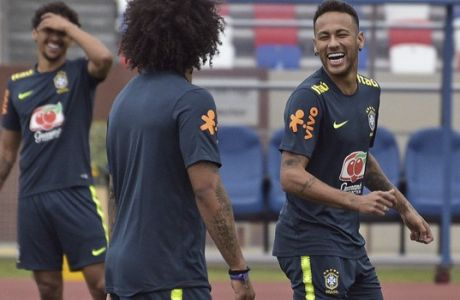 Brazil's Neymar smiles during a training session in Sochi, Russia, Wednesday, July 4, 2018. Brazil will face Belgium on July 6 in the quarterfinals for the soccer World Cup. (AP Photo/Ekaterina Lyzlova)