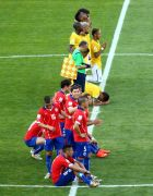 BELO HORIZONTE, BRAZIL - JUNE 28:  Chile and Brazil players look on preparing for penalty kicks during the 2014 FIFA World Cup Brazil round of 16 match between Brazil and Chile at Estadio Mineirao on June 28, 2014 in Belo Horizonte, Brazil.  (Photo by Ian Walton/Getty Images)