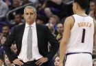 Phoenix Suns head coach Igor Kokoskov watches as guard Devin Booker (1) takes himself out of the game after an injury during the second half of an NBA basketball game against the Los Angeles Lakers, Wednesday, Oct. 24, 2018, in Phoenix. (AP Photo/Matt York)
