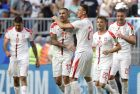 Serbia's Aleksandar Kolarov celebrates with team mates scoring the opening goal during the group E match between Costa Rica and Serbia at the 2018 soccer World Cup in the Samara Arena in Samara, Russia, Sunday, June 17, 2018. (AP Photo/Mark Baker)