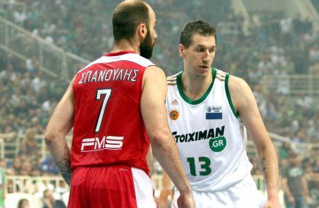 Βασίλης Σπανούλης και Δημήτρης Διαμαντίδης, πρωταγωνιστές Ολυμπιακού και Παναθηναϊκού στους θριάμβους της Ευρωλίγκας
