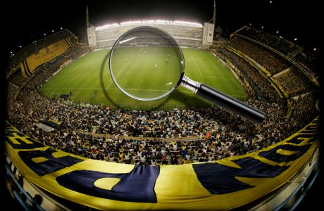 """The """"Bombonera"""" stadium is seen during a Copa Libertadores soccer match against Venezuela's Union Maracaibo in Buenos Aires, Tuesday, April 22, 2008. Argentina is renowned world wide for its top-notch soccer players and the passion of its fans. No team better expresses the fervor of Argentina's fans than Boca Juniors, one of the teams that has earned the most titles internationally. (AP Photo/Natacha Pisarenko)"""