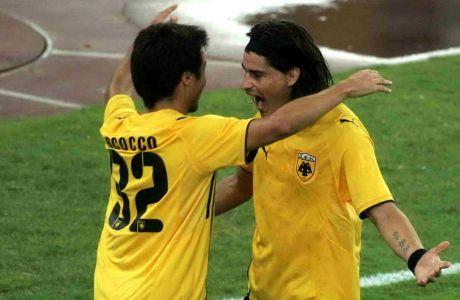 Ο Νάτσο Σκόκο και ο Ίσμαελ Μπλάνκο σε κοινό στιγμιότυπο από αγώνα της ΑΕΚ