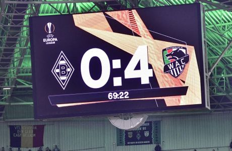 The board shows 0-4 during the Europa League Group J soccer match between Borussia Moenchengladbach and Wolfsberger AC in Moenchengladbach, Germany, Thursday Sept. 19, 2019. (AP Photo/Martin Meissner)