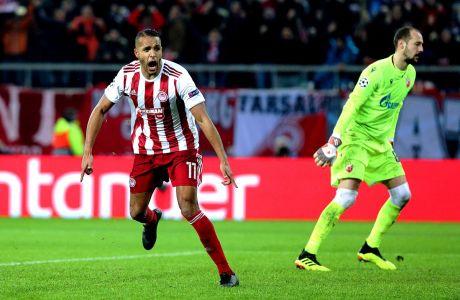 Ο Γιουσέφ ελ Αραμπί του Ολυμπιακού πανηγυρίζει το γκολ που σημείωσε κόντρα στον Ερυθρό Αστέρα σε αναμέτρηση για τη φάση των ομίλων του Champions League 2019-2020, Τετάρτη 11 Δεκεμβρίου 2019