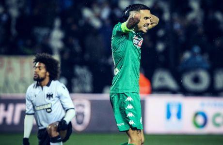 Ο Δημήτρης Κουρμπέλης του Παναθηναϊκού σε στιγμιότυπο του αγώνα με τον ΠΑΟΚ για τον 1ο προημιτελικό του Κυπέλλου Ελλάδας 2019-2020 στο γήπεδο της Τούμπας, Τετάρτη 5 Φεβρουαρίου 2020