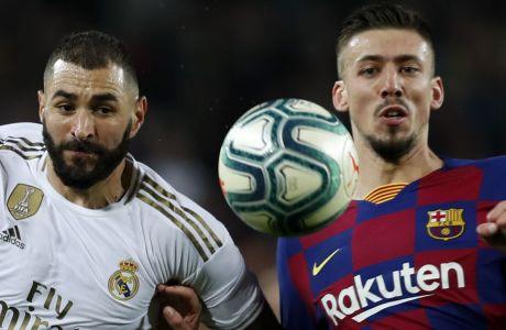 Μπενζεμά και Λενγκλέ διεκδικούν τη μπάλα στη διάρκεια του Clasico στο 'Camp Nou', στις 18 Δεκεμβρίου του 2019.  (AP Photo/Joan Monfort)