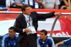 Greece's coach Otto Rehhagel points the way forward to his players