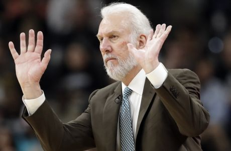 San Antonio Spurs head coach Gregg Popovich reacts to play against the Houston Rockets during the second half in Game 5 of an NBA basketball second-round playoff series, Tuesday, May 9, 2017, in San Antonio. (AP Photo/Eric Gay)