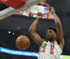 Milwaukee Bucks' Giannis Antetokounmpo dunks during the first half of an NBA basketball game against the Milwaukee Bucks Saturday, Dec. 29, 2018, in Milwaukee. (AP Photo/Morry Gash)