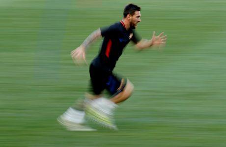 Ο Λιονέλ Μέσι κατά τη διάρκεια προπόνησης της Μπαρτσελόνα πριν από το φιλικό με τη Γιουβέντους για το International Champions Cup 2017, Νιου Τζέρσεϊ, Παρασκευή 21 Ιουλίου 2017