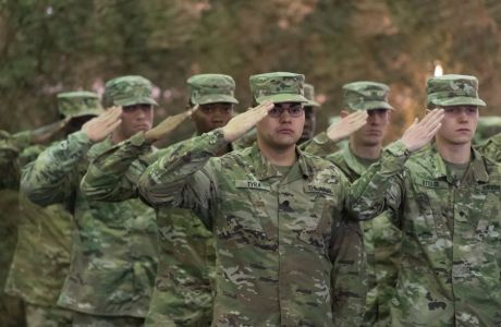 epa06570142 American soldiers salute during the ceremony of changing of the guard in the US command at the command center of the American Land Forces in Europe in Poznan, Poland, 28 February 2018. The 1st Infantry Division of the American Army takes over command from the 4th Infantry Division. US Army Europe's division-level headquarters is responsible for mission command of US forces deployed in support of Atlantic Resolve.  EPA/JAKUB KACZMARCZYK POLAND OUT