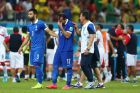 RECIFE, BRAZIL - JUNE 29:  Giorgos Tzavellas and Theofanis Gekas of Greece look dejected after being defeated by Costa Rica in  penalty shootout during the 2014 FIFA World Cup Brazil Round of 16 match between Costa Rica and Greece at Arena Pernambuco on June 29, 2014 in Recife, Brazil.  (Photo by Quinn Rooney/Getty Images)