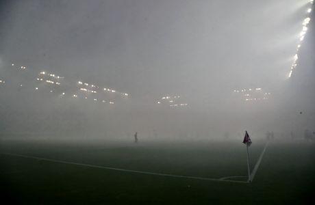 Ομίχλη στο 'Γεώργιος Καραϊσκάκης' πριν από την αναμέτρηση του Ολυμπιακού με την ΑΕΚ για τη Super League 1 2019-2020, Κυριακή 27 Οκτωβρίου 2019