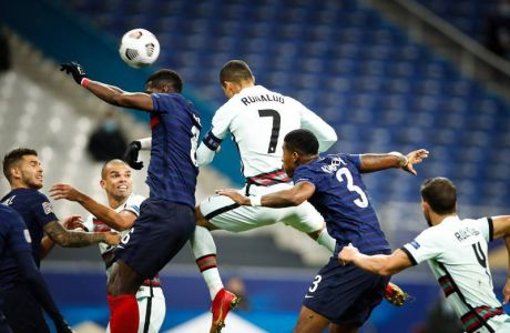 Cristiano Ronaldo  7 - Portugal  - Paul Pogba  France  -  6 - France  - FOOTBALL : France vs Portugal - Ligue des Nations - Saint Denis - 11/10/2020 FedericoPestellini/Panoramic PUBLICATIONxNOTxINxFRAxITAxBEL