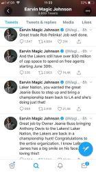 Μια σειρά από tweets του Μάτζικ Τζόνσον για τη μεταγραφή του Άντονι Ντέιβις