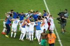 FORTALEZA, BRAZIL - JUNE 24:  Greece celebrate after defeating the Ivory Coast 2-1 during the 2014 FIFA World Cup Brazil Group C match between Greece and the Ivory Coast at Castelao on June 24, 2014 in Fortaleza, Brazil.  (Photo by Robert Cianflone/Getty Images)