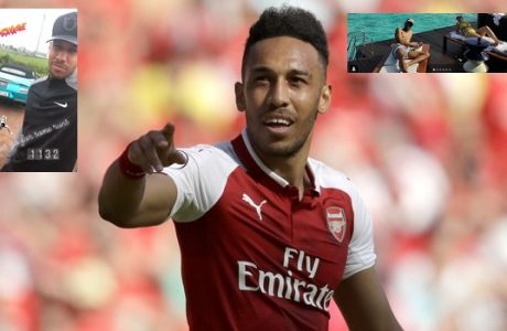 Arsenal's Pierre-Emerick Aubameyang celebrates scoring his side's first goal during the English Premier League soccer match between Arsenal and Burnley at the Emirates Stadium in London, Sunday, May 6, 2018. The match is Arsenal manager Arsene Wenger's last home game in charge after announcing in April he will stand down as Arsenal coach at the end of the season after nearly 22 years at the helm. (AP Photo/Matt Dunham)