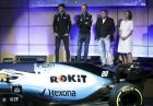 Unveiling of the new livery FW42 with from left, drivers George Russell and Robert Kubica, with Chairman of Rok Corporation Jonathan Kendrick and Williams Formula One deputy team principal Claire Williams during the unveiling of the new Williams 2019 F1 car livery at Williams Conference Centre in Grove, England, Monday Feb. 11, 2019. (Adam Davy/PA via AP)