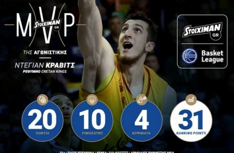 MVP της 9ης αγωνιστικής ο Ντέγιαν Κράβιτς