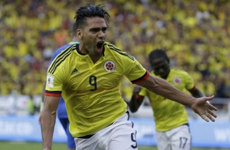 Colombia's Radamel Falcao Garcia celebrates after scoring a goal against Brazil during a 2018 World Cup qualifying soccer match in Barranquilla, Colombia, Tuesday, Sept. 5, 2017.(AP Photo/Ricardo Mazalan)