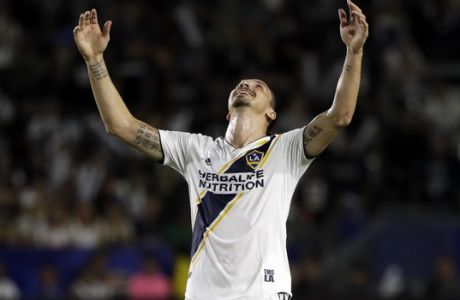 LA Galaxy forward Zlatan Ibrahimovic reacts to a missed shot during the first half of the team's MLS soccer match against the Minnesota United on Saturday, Aug. 11, 2018, in Carson, Calif. (AP Photo/Marcio Jose Sanchez)