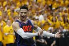 Oklahoma City Thunder guard Russell Westbrook (0) shouts at a referee in the final minutes of Game 6 against the Utah Jazz in an NBA basketball first-round playoff series, Friday, April 27, 2018, in Salt Lake City. The Jazz won 96-91. (AP Photo/Rick Bowmer)
