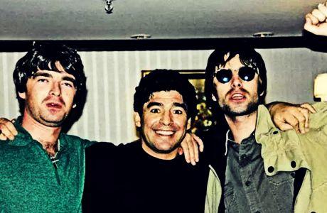 Nόελ και Λίαμ Γκάλαχερ με τον Ντιέγκο Αρμάντο Μαραντόνα, το 1997 στην Αργεντινή.