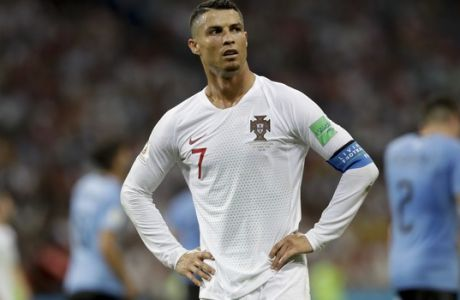 Portugal's Cristiano Ronaldo gestures during the round of 16 match between Uruguay and Portugal at the 2018 soccer World Cup at the Fisht Stadium in Sochi, Russia, Saturday, June 30, 2018. (AP Photo/Andre Penner)