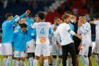 Ο προπονητής της Μαρσέιγ, Αντρέ Βίλας Μπόας, πανηγυρίζει με τους παίκτες του τη νίκη επί της Παρί για τη Ligue 1 2029-2021 στο 'Παρκ ντε Πρενς', Παρίσι   Κυριακή 13 Σεπτεμβρίου 2020