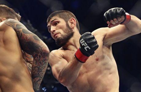 Ο Χαμπίμπ Νουρμαγκομέντοφ στην πιο πρόσφατη μάχη του στο οκτάγωνο του UFC