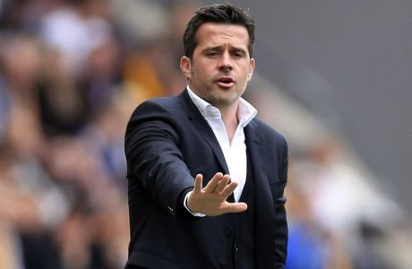 Hull City manager Marco Silva gestures during the English Premier League soccer match against  Tottenham Hotspur at the KCOM Stadium, Hull, England, Sunday May 21, 2017. (Danny Lawson/PA via AP)