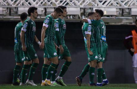Παίκτες του Παναθηναϊκού πανηγυρίζουν γκολ κόντρα στην ΑΕΛ για τη Super League Interwetten 2020-2021 στο 'Απόστολος Νικολαΐδης'   Κυριακή 10 Ιανουαρίου 2021