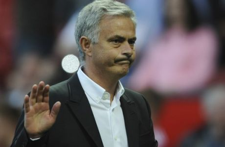 Manchester United manager Jose Mourinho after the English Premier League soccer match between Manchester United and Leicester City at Old Trafford in Manchester, England, Saturday, Aug. 26, 2017. (AP Photo/Rui Vieira)
