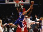 Los Angeles Clippers' Boban Marjanovic (51) goes up to the basket agains Oklahoma City Thunder's Jerami Grant (9) during the second half of an NBA basketball game Friday, Oct. 19, 2018, in Los Angeles. Clipper won 108-92. (AP Photo/Ringo H.W. Chiu)