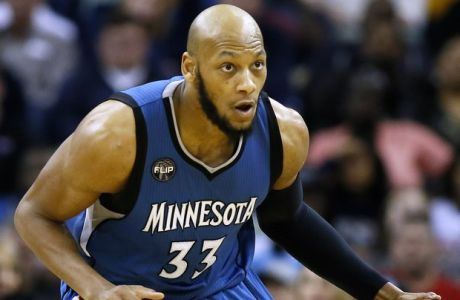 Minnesota Timberwolves forward Adreian Payne (33) drives with the ball during the second half of an NBA basketball game Saturday, Feb. 27, 2016, in New Orleans. The Timberwolves won 112-110. (AP Photo/Jonathan Bachman)