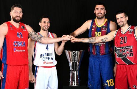 Οι αρχηγοί των τεσσάρων φιναλίστ ποζάρουν με φόντο το τρόπαιο της Euroleague