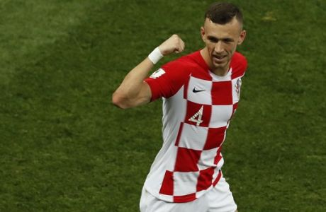 Croatia's Ivan Perisic celebrates after scoring his side's first goal during the final match between France and Croatia at the 2018 soccer World Cup in the Luzhniki Stadium in Moscow, Russia, Sunday, July 15, 2018. (AP Photo/Rebecca Blackwell)