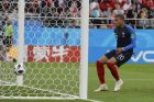 France's Kylian Mbappe scores his side's opening goal during the group C match between France and Peru at the 2018 soccer World Cup in the Yekaterinburg Arena in Yekaterinburg, Russia, Thursday, June 21, 2018. (AP Photo/Vadim Ghirda)