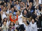 Tottenham's Harry Kane celebrates scoring a goal during the English Premier League soccer match between Tottenham Hotspur and Manchester United at White Hart Lane stadium in London, Sunday, May 14, 2017. (AP Photo/Frank Augstein)