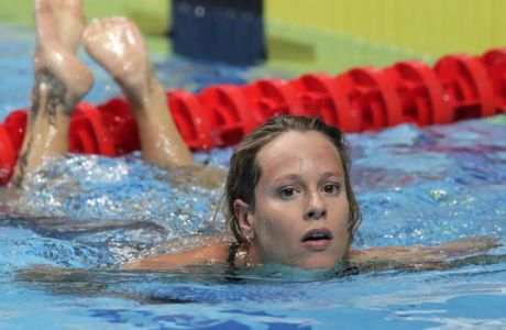 Italy's Federica Pellegrini leaves the pool after a women's 200-meter freestyle heat during the swimming competitions of the World Aquatics Championships in Budapest, Hungary, Tuesday, July 25, 2017. (AP Photo/Michael Sohn)