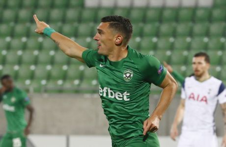 celebrates after scoring his side's first goal during the Europa League Group J soccer match between Ludogorets and Tottenham Hotspur at the Ludogorets Arena stadium in Razgrad, Bulgaria, on Thursday, Nov. 5, 2020. (AP Photo/Anton Uzunov)