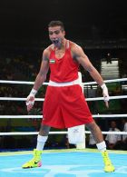 RIO DE JANEIRO, BRAZIL - AUGUST 13:  Shakhram Giyasov of Uzbekistan celebrates his victory over Roniel Iglesias of Cuba after the Men's Welterweight (69g) Quarter Final bout on Day 8 of the 2016 Rio Olympics at Riocentro - Pavilion 6 on August 13, 2016 in Rio de Janeiro, Brazil.  (Photo by Alex Livesey/Getty Images)